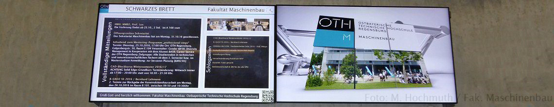 Infodisplaysystem Fak. Maschinenbau. Foto: M. Hochmuth / Fak. Maschinenbau